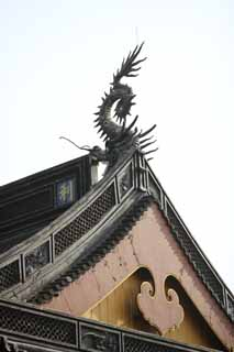 photo,material,free,landscape,picture,stock photo,Creative Commons,Hangzhou Lingying Temple, Buddhism, dragon, roof, tile