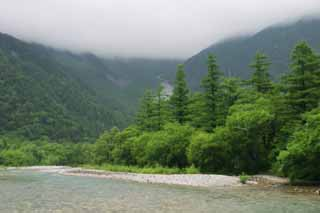 photo,material,free,landscape,picture,stock photo,Creative Commons,Mt. Hotaka view from the Azusa River, river, tree, water, mountain