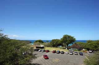 photo,material,free,landscape,picture,stock photo,Creative Commons,parking of Hapuna Beach, blue sky, Sea bathing, Blue,
