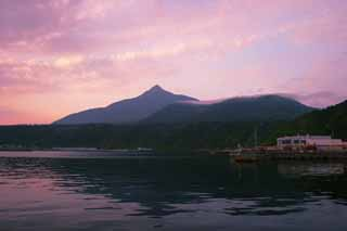 photo,material,free,landscape,picture,stock photo,Creative Commons,Mt. Rishiri-fuji in sunrise glow, water surface, mountain, sky, Oshidomari Fishing Port