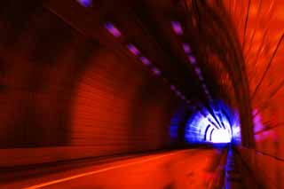 photo,material,free,landscape,picture,stock photo,Creative Commons,Craving for the exit, tunnel, sodium lamp, red, exit