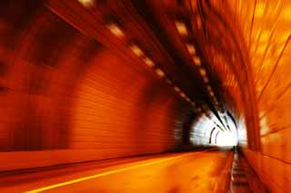 photo,material,free,landscape,picture,stock photo,Creative Commons,Toward the exit, tunnel, sodium lamp, orange, exit