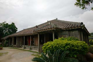 photo, la mati�re, libre, am�nage, d�crivez, photo de la r�serve,Maison Okinawa traditionnelle, toit, Ishigaki, pilier, mur