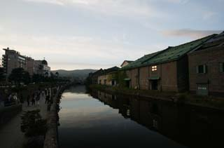 photo, la mati�re, libre, am�nage, d�crivez, photo de la r�serve,Paysage du soir du canal d'Otaru, canal, �clairage public, La surface de l'eau, murez l'entrep�t