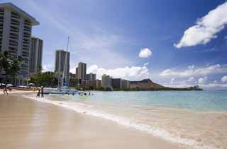 photo, la mati�re, libre, am�nage, d�crivez, photo de la r�serve,Waikiki �chouent, plage sablonneuse, plage, vague, ciel bleu