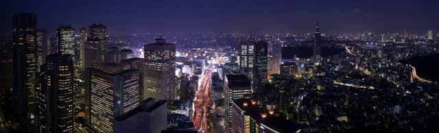 photo, la mati�re, libre, am�nage, d�crivez, photo de la r�serve,Shinjuku a d�velopp� la vue de la nuit du centre de la ville r�cemment, construire, Le Tokyo MetropolitGovernment bureau, DoCoMo dominent, autoroute nationale