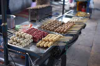 photo,material,free,landscape,picture,stock photo,Creative Commons,A dumpling stand, dumpling, , skewer, Sauce