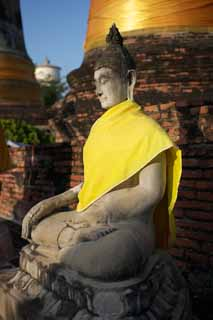 photo,material,free,landscape,picture,stock photo,Creative Commons,A Buddhist image of Ayutthaya, Buddhist image, Buddha, pagoda, Ayutthaya remains