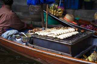 photo,material,free,landscape,picture,stock photo,Creative Commons,Burning condition banana selling of water market, market, Buying and selling, boat,