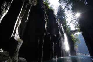 photo, la mati�re, libre, am�nage, d�crivez, photo de la r�serve,Takachiho-kyo engloutissent, Ravin, Backlight, falaise, monument naturel