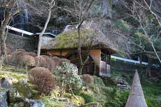 photo, la mati�re, libre, am�nage, d�crivez, photo de la r�serve,Un watermill, toit de chaume, toit couvert de chaume, roue hydraulique, B�timent du Japonais-style