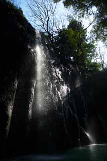 photo,material,free,landscape,picture,stock photo,Creative Commons,A waterfall of Takachiho-kyo Gorge, Ravine, Backlight, cliff, natural monument