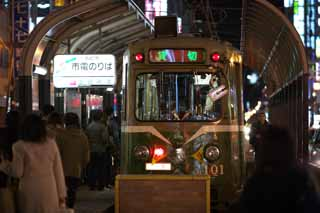 photo,material,free,landscape,picture,stock photo,Creative Commons,Sapporo streetcar, At night, charter, vehicle, train