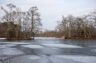 photo,material,free,landscape,picture,stock photo,Creative Commons,A surface of a lake of freezing, Ice, lake, Lake Onuma, Freezing
