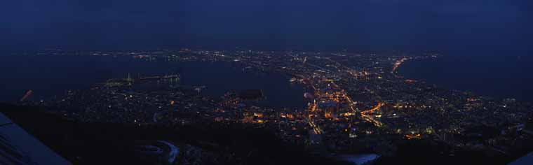 photo, la mati�re, libre, am�nage, d�crivez, photo de la r�serve,Une vue de la nuit de Mt. Hakodate-yama, Illuminations, Un observatoire, lumi�re de ville, ville de port