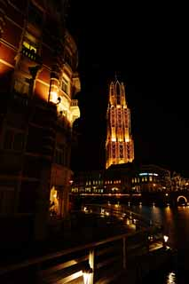 photo,material,free,landscape,picture,stock photo,Creative Commons,Night Huis Ten Bosch, canal, Illuminations, Illumination, light