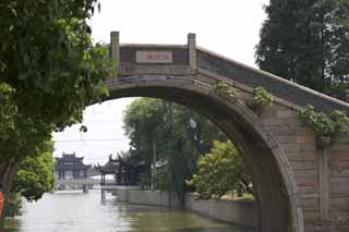 photo,material,free,landscape,picture,stock photo,Creative Commons,A bridge of Suzhou, bridge, stone bridge, An arch, canal
