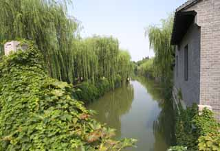 photo,material,free,landscape,picture,stock photo,Creative Commons,A canal of Suzhou, willow, canal, waterside, Water