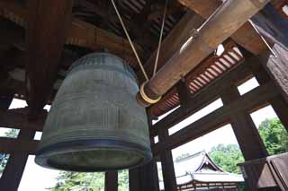 photo, la mati�re, libre, am�nage, d�crivez, photo de la r�serve,Cloche du temple de Todai-ji Temple, b�timent en bois, L'ann�e d'�poque Shogen, cloche de temple, tour de la cloche
