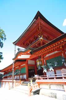 photo, la mati�re, libre, am�nage, d�crivez, photo de la r�serve,Kasuga Taisha temple, Shinto�sme, Temple shinto�ste, Je suis peint en rouge, toit