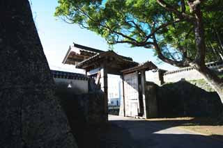 photo,material,free,landscape,picture,stock photo,Creative Commons,Fukue Castle castle gate, Ishigaki, castle gate, door, wall