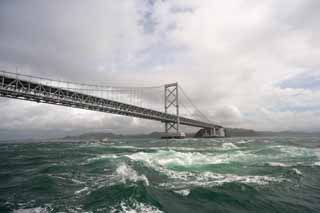 photo,material,free,landscape,picture,stock photo,Creative Commons,Naruto Whirlpools, bascule bridge, suspension bridge, An ocean current, Traffic