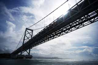 photo,material,free,landscape,picture,stock photo,Creative Commons,A large naruto bridge, bascule bridge, suspension bridge, An ocean current, Traffic