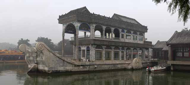 photo, la mati�re, libre, am�nage, d�crivez, photo de la r�serve,Palais d'Et� de la Qing Yan Fang, Bateau, Royal, Construisant eau,