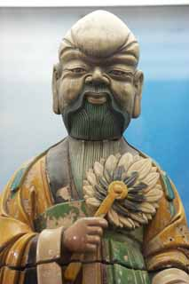 photo,material,free,landscape,picture,stock photo,Creative Commons,Ceramic figures, Fan, Beard, Tang tricolored glazed, Male