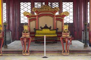 photo,material,free,landscape,picture,stock photo,Creative Commons,Neutralization of the National Palace builders Throne, The wooden building, Hua cover the buttocks, Long, Emperor
