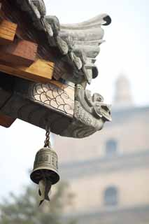 photo,material,free,landscape,picture,stock photo,Creative Commons,Roof ornament in Temple of Great Mercy and Goodness, Buddhism, Tile, Bell, Journey To The West