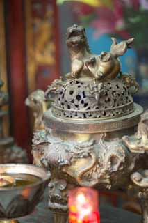 photo,material,free,landscape,picture,stock photo,Creative Commons,Censer in Temple of Great Mercy and Goodness, Lion, Brass, Buddhism, Scent
