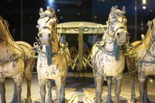 photo,material,free,landscape,picture,stock photo,Creative Commons,Bronze Chariot and Horses in Mausoleum of the First Qin Emperor, Horse-drawn copper, Ancient people, Tomb, World Heritage