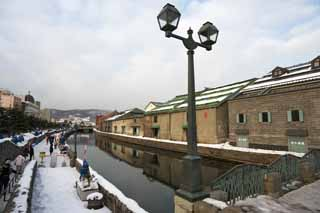 photo, la mati�re, libre, am�nage, d�crivez, photo de la r�serve,Otaru Canal, Canal, Entrep�t, Lampe de rue, Abri de la neige