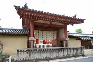 photo, la mati�re, libre, am�nage, d�crivez, photo de la r�serve,Le Temple Yakushi-ji porte sud, Je suis peint en rouge, Le Bouddha de gu�rir, Monast�re bouddhiste, Chaitya