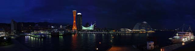 photo, la mati�re, libre, am�nage, d�crivez, photo de la r�serve,Vue de la nuit du port de Kobe, port, tour de port, bateau du plaisir, attraction touristique