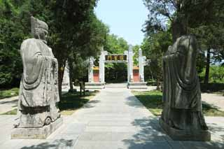 photo,material,free,landscape,picture,stock photo,Creative Commons,Ming Xiaoling Mausoleum old man relation road Shinto, Remains, stone statue, An approach to a shrine, world heritage
