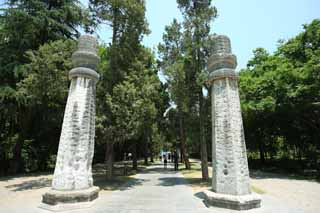 photo,material,free,landscape,picture,stock photo,Creative Commons,Ming Xiaoling Mausoleum old man relation road Shinto, Remains, stone pillar, An approach to a shrine, world heritage
