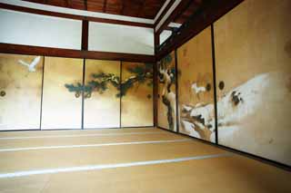photo, la mati�re, libre, am�nage, d�crivez, photo de la r�serve,Image du fusuma de Ninna-ji Temple, Fukui condamnent � une amende la voile du temps, Pi�ce du Japonais-style, Tableau traditionnel japonais, h�ron