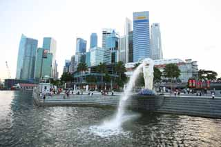 photo,material,free,landscape,picture,stock photo,Creative Commons,Merlion, Singapure, skyscraper, mermaid, Ancient city