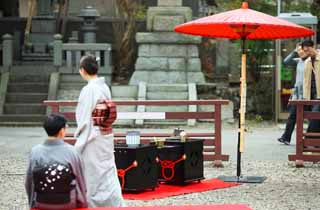 photo,material,free,landscape,picture,stock photo,Creative Commons,An outdoor tea ceremony, Tea ceremony, tea ceremony, sum umbrella, Manners