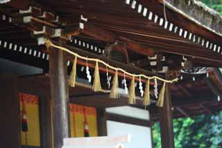 photo, la mati�re, libre, am�nage, d�crivez, photo de la r�serve,C'est un temple shinto�ste temple de devant dans Uji, appendice en papier, Feston de la paille shinto�ste, aveugle du bambou, Shinto�sme
