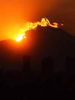 photo, la mati�re, libre, am�nage, d�crivez, photo de la r�serve,Mt. Fuji de la destruction par feu, Mettant soleil, Mt. Fuji, construire, nuage