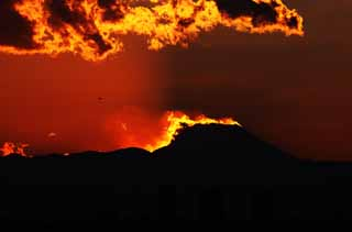 photo, la mati�re, libre, am�nage, d�crivez, photo de la r�serve,Mt. Fuji de la destruction par feu, Mettant soleil, Mt. Fuji, Rouge, nuage