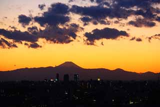 photo, la mati�re, libre, am�nage, d�crivez, photo de la r�serve,Le cr�puscule de Mt. Fuji, Mettant soleil, Mt. Fuji, Rouge, nuage