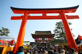 photo,material,free,landscape,picture,stock photo,Creative Commons,Fushimi-Inari Taisha Shrine approach to a shrine, New Year's visit to a Shinto shrine, torii, Inari, fox