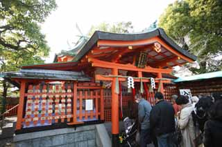 photo, la mati�re, libre, am�nage, d�crivez, photo de la r�serve,Fushimi-Inari Taisha Temple cercle est temple shinto�ste, La visite de nouvelle ann�e � un temple shinto�ste, comprim� du votive, Inari, renard