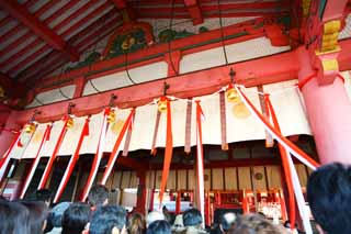 photo, la mati�re, libre, am�nage, d�crivez, photo de la r�serve,Fushimi-Inari Taisha Temple temple principal, cloche, Rouge et blanc, chrysanth�me, renard