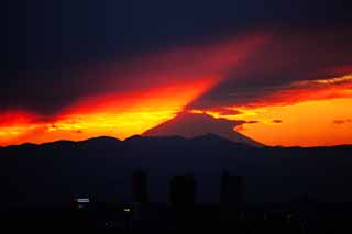 photo, la mati�re, libre, am�nage, d�crivez, photo de la r�serve,Mt. Fuji du cr�puscule, Mt. Fuji, construire, ligne l�g�re, montagne