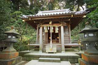 photo, la mati�re, libre, am�nage, d�crivez, photo de la r�serve,Temple Eshima Temple de Tsunomiya Yasaka-jinja lat�ral, temple inf�rieur, Temple shinto�ste, , Ozunu Enno